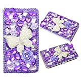 Evtech (tm) lila Butterfly strass Bling Crystal Glitter Style Book Folio PU Housse en cuir avec support sac à main de téléphone et fentes de cartes for HTC one M8