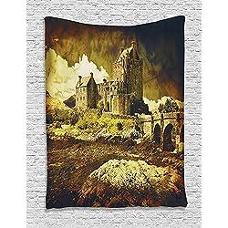 RDTFGYV Tapiz De Decoración Medieval Castillo Escocés Antiguo En Estilo Vintage Cultura De Época Europea Patrimonio De La Ciudad Foto De Dormitorio 150Cmx130Cm
