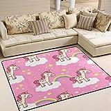 Use7 Teppich, Motiv: Einhorn, Stern, Wolke, Regenbogen-Teppich, für Wohnzimmer, Schlafzimmer, Textil, Mehrfarbig, 160cm x 122cm(5.3 x 4 feet)