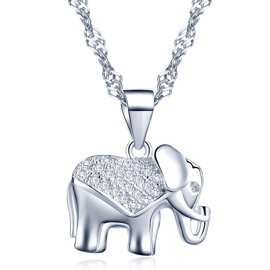 Yumilok Jewelry 925 Sterling Silver Cubic Zirconia Silver/Rose Gold Plated Lovely Elephant Pendant Necklace for Women/Girls