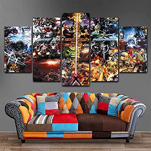 inwandbilder - Fertig Aufgespannt - Leinwand - 5 Teilig - Wandbilder - Kunstdrucke Vs Marvel Malerei Home Decor Poster Bild Für Wohnzimmer-B2 Rahmen ()