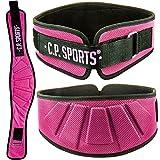 C.P. Sports Profi-Ultraleichtgürtel Farbe: Schwarz & Pink, Damen, Herren Trainingsgürtel - Fitness Gewichthebergürtel, Bodybuilding, Krafttraining