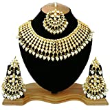 #9: Finekraft Meena White Kundan Gold Plated Pearl Stone Choker Necklace Jewelry Set For Women