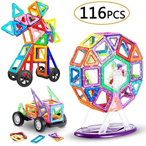 LIVEHITOP 116 Piezas Bloques de Construcción Magnéticos - 3D Juego Imanes Juguete Educativo Creativo Cumpleaños Regalo Reyes Magos para Niños y Niñas más 3 Años