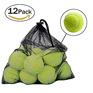 12 Pack Tennis balls,ZOOYAUE Tennis ball for Dog ,Sport Play Cricket Dog Toy Ball with Mesh Carrying Bag,outdoor fun beach leisure Dog Training Review 2018
