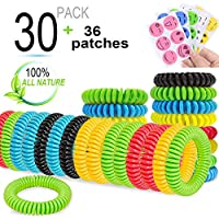 Mosquito Repellent Bracelet Insect Bands for Kids Adults 30 Pack All Natural Deet-free and 36 Pack Repellent Patches for Outdoor Travel Protection Free of Bug up to 300 Hours Waterproof