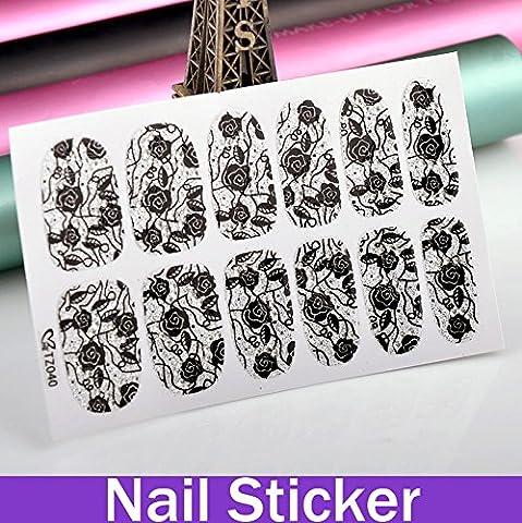 paxten (TM) 1feuille Rosette Feuille Motif paillettes Argenté couleur Nail Sticker fleurs arbol-de-navidad