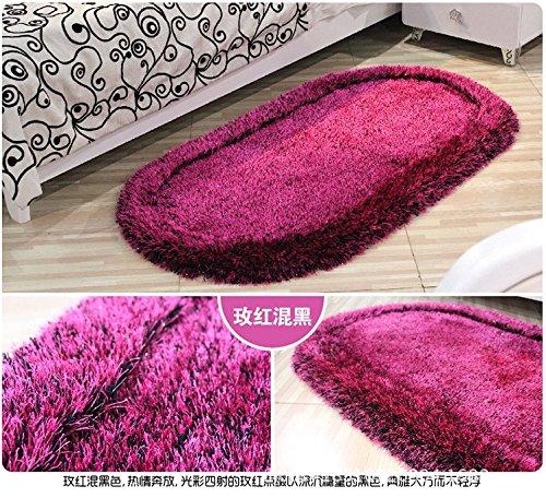Rose Oval Teppich (Dicke Matten einfach Stretch Block ovalen Wohnzimmer Teppich 50 * 80cm,Rose rot)