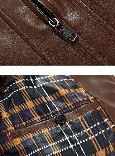 PLAER Les Hommes vêtement décontracté PU manteau de la veste en cuir en cuir d'agneau Car Coat rouge-brun- Modèles B