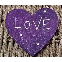 Regalo di San Valentino 'Love' viola magnete in legno a forma di cuore personalizzato per mum-gi...