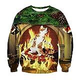 3D Grafik Pullover Katze Pizza Feuer Weihnachten