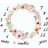 Baby månadsvis milstolpe filt-blommig krans tryck milstolpe filt med månatlig tillväxt diagram bakgrund nyfödd bebis fotograf