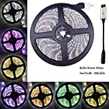 HooyaStark Waterproof IP65 RGBW(RGB+Warm White) 5 pin Flexible LED Strip,5m 300 LEDs SMD5050 LED Strip Lighting/LED Light Ribbon for Home & Outdoor Decoration,Ideal for Garden,Household,Kitchen,Under Cabinet,Car,Bar,DIY Ornament Lighting with Inline Controller for Home & Outdoor Decoration