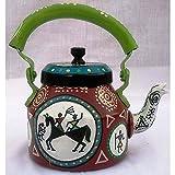 Multicolour Handpainted Designer Tea Kettle From iHandikart Handicrafts (laden ) (1 Litre, 22 cm), aluminium For Home Décor Corporate Gift Purpose 5019…