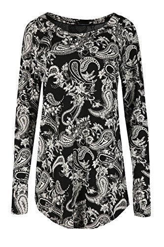 Damen Schlabber Kleid Damen Halbrunder Saum Überdimensional Rundkragen Lange Ärmel Minikleid Paisley Schwarz