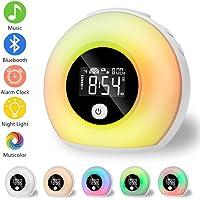 Linkax Réveil Wake Up Light, Réveil Musical Bluetooth avec couleur de la lumière magique, Réveil Musical Bluetooth, Lampe de Chevet veilleuse, pour les enfants, fête, chambre à coucher, camping