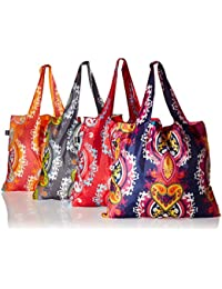 LOQI Opulent Collection Pouch Reusable Bags (Set Of 4), Multicolor