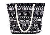 5 All Strandtasche Damen Shopper mit Reißverschluss Aufdruck Elefant viele
