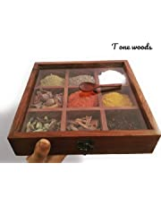 woodcreatures(T one wood handicrafts ) Sheesham Wooden Spice Box with Spoon for Kitchen, 9x9x2 inches, Brown