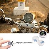 ONEVER Universal Mini Motorcycle Clock Watch Waterproof Stick-On Motorbike Digital Clock Dia. 1.1' (10pcs)