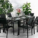 Table aluminium et verre Florence et 8 Chaises Milly - NOIR | Table à manger extensible en métal de 240cm