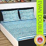 Divine Casa 144 TC Cotton Stripe Double Bedsheet with 2 Pillow Cover - Blue
