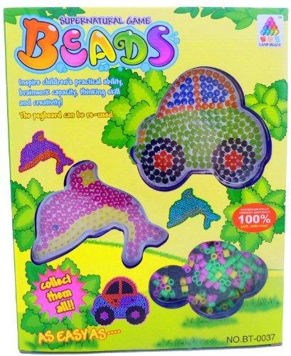Jouet 2985 Set de perles à repasser Set de perles avec cadre à repasser pour enfant Voiture et dauphin