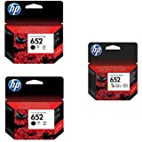 HP 652 2 Black Ink Cartridges and 1 Color Ink Cartridge Set