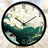 pingofm Simple chino Art Hotel sala de estar decorativa caligrafía caligrafía Lotus reloj de pared creativo reloj de cuarzo silencioso reloj 108, Black metal frame, 14 Pulgadas