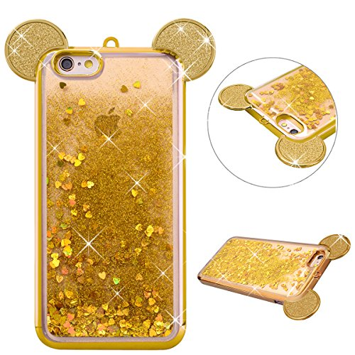 Dexnor iPhone 6 Plus / 6S Plus Flüssiger Hülle TPU Silikon Handyhülle, Luxus 3D Cartoon Diamond Liquid Bling Rückseite Schale Etui Shiny Heart Glitter Crystal Clear Case Cover Tasche Schutzhülle für iPhone 6 Plus / 6S Plus - Gold