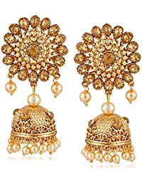 Meenaz Traditional Pearl Jewellery Gold Jhumki Party Wear Stylish Jhumka Earrings For Women Girls Necklace Jewellery...