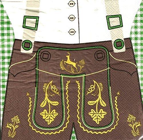 20 Servietten 33x33cm Motiv Lederhose Bayrisch Oktoberfest