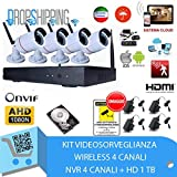 GENERAL TRADERS - Kit Videosorveglianza Wireless Full WIFI HD IP, 4 Telecamere NVR LAN Remoto 3G,1...
