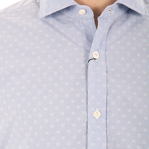 BARBA Herren Langarmshirt blau himmelblau Kragenweite: 41 Himmelblau