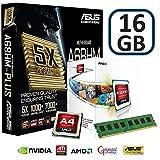 Ordenador tecnología Asus Powered Gaming actualización Bundle–Placa base Asus a68hm Plus y procesamiento a través de un AMD FM2A46300Dual Core CPU–WiFi Dongle incluido 16GB DDR3 Memory