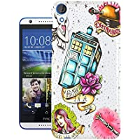 Moe-Cell Doctor Who Tardis Sketch Tattoo Style Police Box Exterminate Tardis Htc Desire 820 Carcasa de Gel de Silicona Case Cover