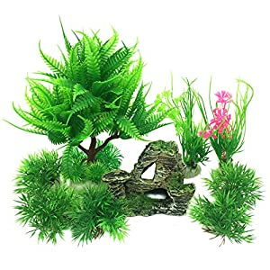 PietyPet Fish Tank Decorations Plants with Rockery view, 9pcs Green Aquarium Plants Plastic and Aquarium Mountain Reef…