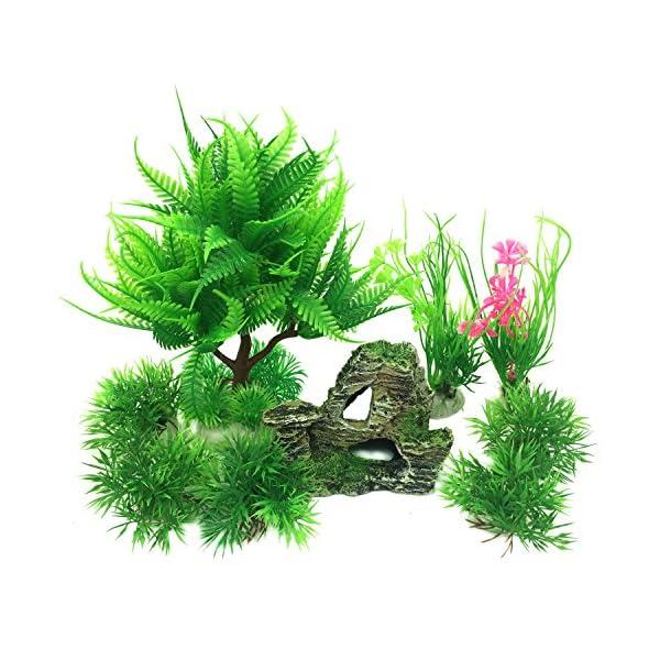 PietyPet Fish Tank Decorations Plants with Rockery view, 9pcs Green Aquarium Plants Plastic and Aquarium Mountain Reef…