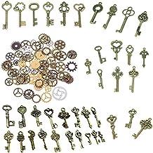 BESTIM INCUK 120g vintage de teclas de esqueleto de bronce antiguo encantos colgante reloj reloj Steampunk engranajes engranajes rueda para joyería Making Supplies, Steampunk accesorios, manualidades (aprox. 80unidades)