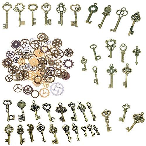 Bestim incuk 120Gramm Antik Bronze Vintage Skelett Schlüssel Steampunk Gears Zahnrädern Charms Anhänger Uhr Armbanduhr Rad für Schmuck-Herstellung, Steampunk Zubehör, Craft Projekte (ca. 80)