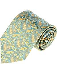 Premium Herren Hochzeitskrawatte Blau Gelb Paisley Blumen Seide