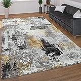 Paco Home Moderner Kurzflor Wohnzimmer Teppich 3D Optik Abstraktes Muster In Grau Gelb, Grösse:160x230 cm