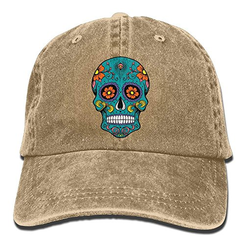 Trucker-Baseballmütze für Männer, Sugar Skull Vintage Jeans Baseball Cap Outdoor Sports Hat for Men and Women