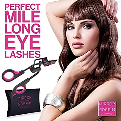 Eyelash Curler, Pink & Black Professional Salon Quality - As Created By & Used In Mirror Mirror Beauty & Leading Salons, The Best Eyelash Curler For Simple, Effective, Pinch & Pain Free Curling, Comes With Extra Refill Pad, & Travel Bag - Do You Want Long