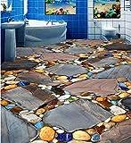 Poowef 3D Wallpaper Stein gepflasterten Straße auf dem Fußboden im Wohnzimmer Schlafzimmer 3 D-3D, Film 3D-Bodenfarbe