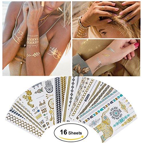 Tätowierung Wasserdicht Metallic Temporäre Tattoo 16sheets in Gold Silber Aufkleber Körper Gefälschte Schmuck Tattoos Über 200 Designs für Frauen Jugendliche Mädchen Body Art