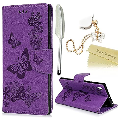 Mavis's Diary Xperia XA1 Ultra Case ,Sony Xperia XA1 Ultra Case - [Wallet Case] Retro PU Leather Notebook Flip Case Flowers Butterfly Emobssed with Inner Soft Gel Rubber Back Holder Magnetic Closure Card Slots & Stand Function & Wrist Strap - Butterfly Dust Plug & Stylus - Purple (Not for Sony Xperia XA1)