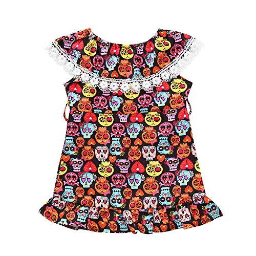 QUINTRA Mädchen Cartoon Skull Print Kleid Kleinkind Infant Baby Halloween Kostüm ()