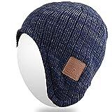 Qshell drahtlose Bluetooth Strickmütze Ohrabdeckungen Kopfhörer Headsets mit Lautsprecher Mic Hände frei für Frauen Männer Outdoor Sports, kompatibel mit iPhone 7/7 plus, Samsung, beste Weihnachtsgeschenke - Blau / Grau