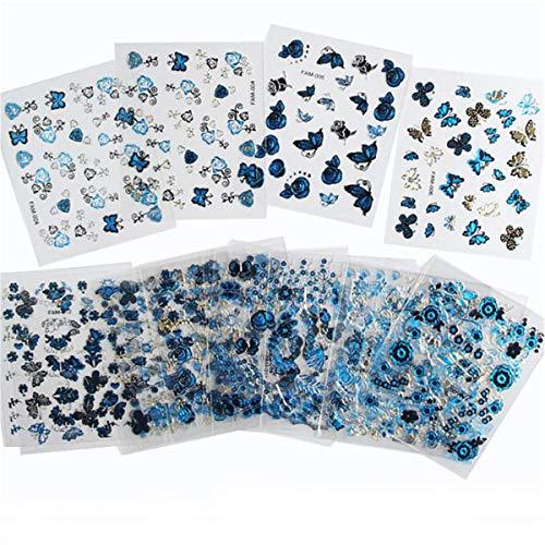 Winwinfly 24 teile/satz Blau Blumenmuster Nail art Aufkleber Decals Nail Dekorationen